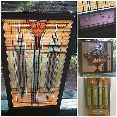 Lot of 2 Frank Lloyd Wright Collection stained glass window Art Pieces!