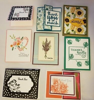 Lot Of 8 Assorted Thank You Handmade Cards Made With Stampin Up