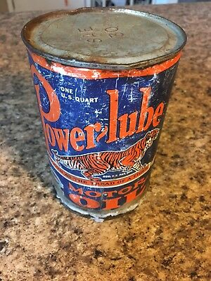 Vintage Power-Lube Motor Oil Quart Can (Opened / No Oil) Power Lube