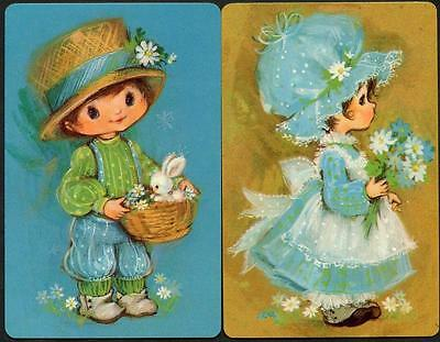Old Fashioned Girl And Boy Holly Hobbie Style Swap Cards Pair
