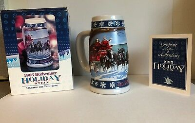 Budweiser Holiday Beer Stein 1995 Lighting The Way Home Limited Edition Mug COA