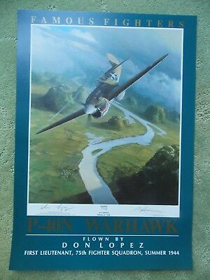 Mark Postlethwaite FAMOUS FIGHTERS Curtis P-40N Don Lopes Aviation Art