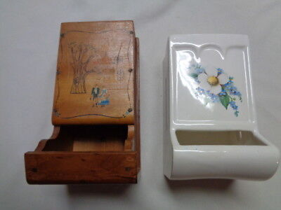 Vintage McCoy Ceramic White Match Box Holder Wall Mount W/Bonus Wood Match Box