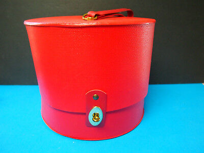 EVERBEST Vintage Red Hat Box Round snap open carry on Luggage Travel Train Case