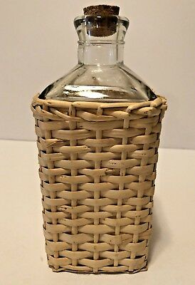 Vintage Square Shaped Clear Decanter With Wicker Cover And Cork Stopper