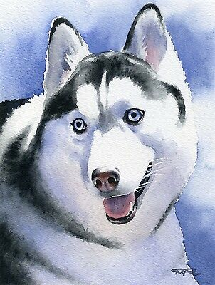 SIBERIAN HUSKY Dog Watercolor 8 x 10 ART Print Signed by Artist DJR