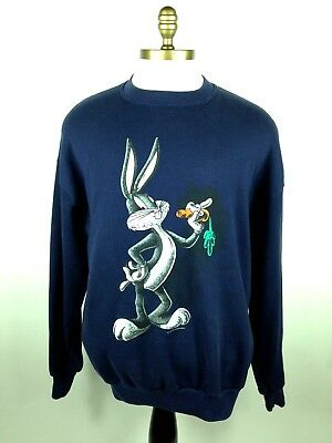 Vintage 90s Bugs Bunny Crewneck Sweater by Jerzees, Size XL, Blue, 1993