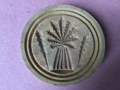 Primitive Antique Hand Carved Sheaf of Wheat Wooden Butter Stamp Mold
