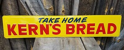 1959 Kern's Bread Sign. Embossed. Painted metal. 42inx8in