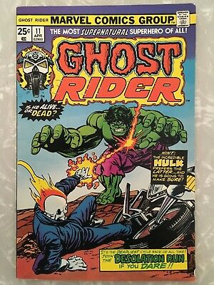 GHOST RIDER #11 VF+ or better VS THE INCREDIBLE HULK VERY NICE COPY MARVEL 1975