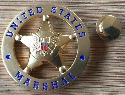 USMS - US Marshals Service oversize 1.25in GOLD Lapel Pin