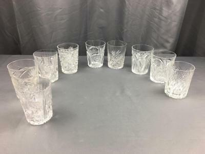8 Antq ABP Intricately Detailed Motif Whisky Old fashions Low Tumblers Mixed