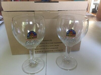 NEW Leffe Belgian Beer Glasses Set of 6 in Box Stemmed Chalice Abbey 25 cl