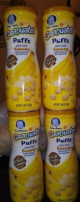 4 Containers Gerber Graduates Banana Puffs 1.48 oz Brand New Sealed for safety