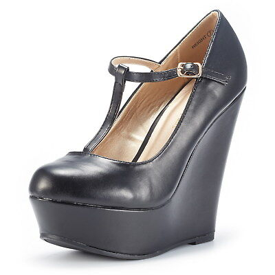 Dream Pairs Women's Wedge-Height Black  T-Strap Wedge Platform Pumps Shoes