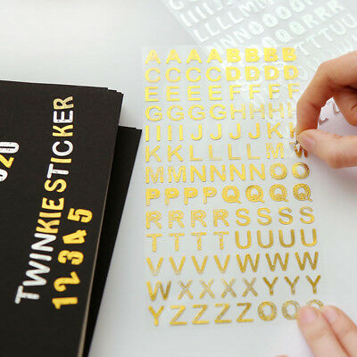 2pcs Gold Foil Adhesive Sticker Planner Letters Numbers Diary Album Decorations