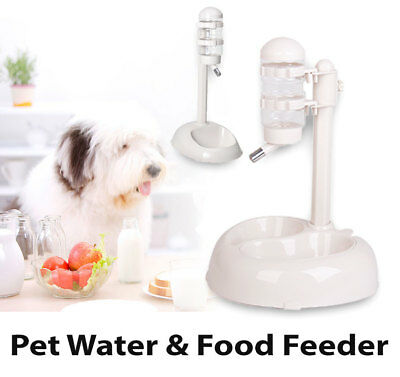 Automatic Pet Bowl Drinking Stand Bottle Cat Dog Food Water Feeder Dispenser
