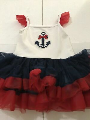 Fao Infant Girl's Anchor Embellished July 4Th Inspired Ruffled One-Piece, Sz 12M