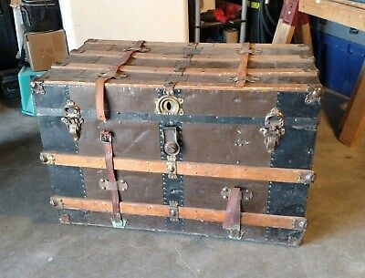 Antique Flat Top Steamer Trunk Vintage Chest Top Compartment - LOCAL PICKUP ONLY