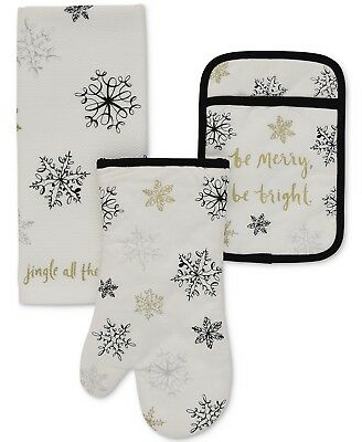 "Kate Spade ""Snowflakes"" 3 Piece Kitchen Set Oven Mitt,Towel, Pot Holder New"