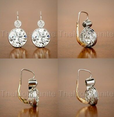 Vintage Art Deco 2 Ct Off White Moissanite 14K White Gold Over Halo Earrings