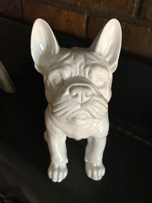 Bulldog Sculpture Figurine Statue Collectible ~ Shiny White Gloss