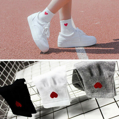 New Cute Women Heart Pattern Soft Breathable Ankle-High Casual Cotton Socks US