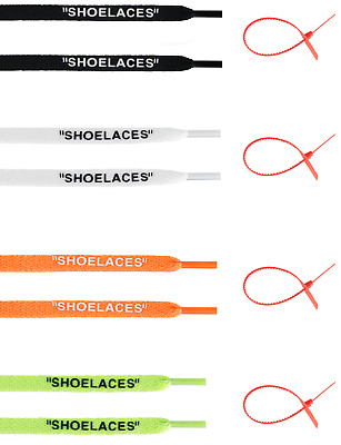 "FAST SHIPPING CUSTOM ""SHOELACES"" Flat Laces + Zip Tie Replacement Off-White"