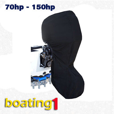 Full Outboard Boat Motor Engine Cover Dust Rain Protection Black - 70hp - 150hp