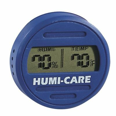 HUMI-CARE Round Digital Hygrometer Black/Blue for Humidors NEW & FREE SHIPPING