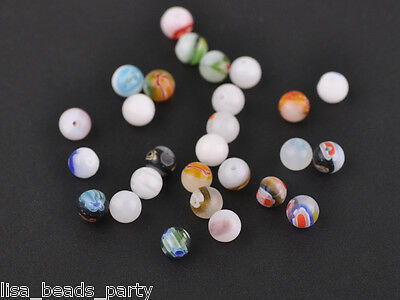 50pcs 6mm Round Lampwork Millefiori Glass Charms Loose Spacer Beads White Mixed