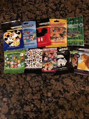 Disney Pins AUTHENTIC  Mystery Packs 50 pins 10 PACKS SEALED new