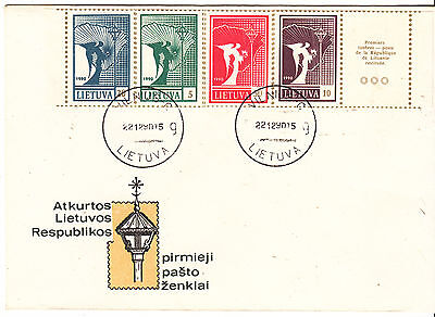 Lithuania 1990 Angel and Map Simulated Perfs on Cover Very Fine Used