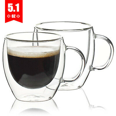 150ml Double Wall Glass Cups Mugs for Coffee Cappuccino Tea Espresso Mug Cup