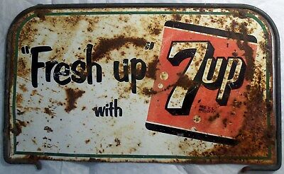 Vintage 1950s Fresh up with 7up RACK STEEL FRAME w/ TIN SIGN rusty & original