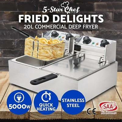 Commercial Electric Deep Fryers Twin Frying Baskets Benchtop Stainless Steel 20L