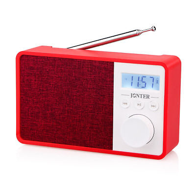 New Red Portable FM Radio WMA MP3 Player Bluetooth w/AUX input Built-inMIC Hot