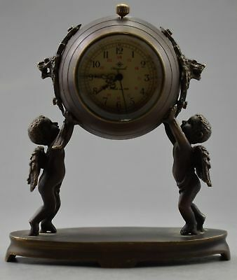 Collectible Decorated Old Copper Carved Pair Child Held Mechanical Table Clock