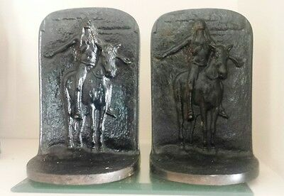 Pair of Antique Solid Bronze Bookends Appeal to the Great Spirit Native American