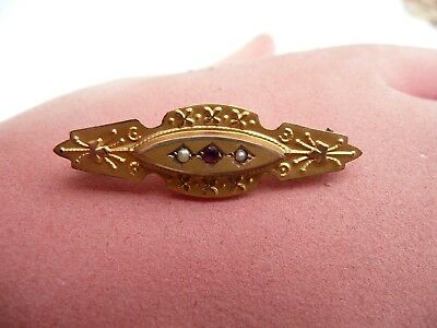 Super Antique 9Ct Gold Ruby & Seed Pearl Mourning Bar Pin Brooch