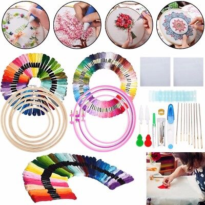 Knitting Sewing Tools DIY Embroidery Circle Pen Punch Needle + 50/100 Threads