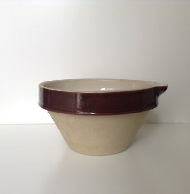 Vintage Grespots Digoin Made In France Stoneware Mixing Bowl With Spout