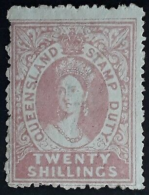 Rare 1868- Queensland Australia 20/- Rose Large Chalon Stamp Duty Used