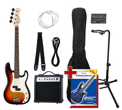 Guitare Basse Electrique Set Ampli Support Accordeur Housse Sangle Cable Corde