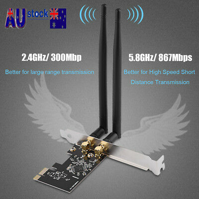 Dual Band 2.4GHz 5.8GHz PCI Express Wireless WiFi Network Card Adapter 1200Mbps
