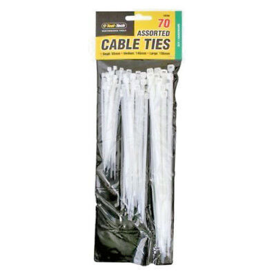 70x White Assorted Size Cable Ties/Tidies Small 98mm Medium 146mm & Large 196mm