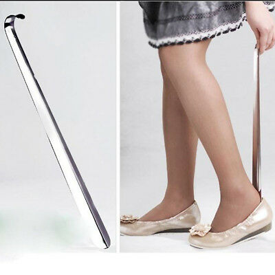Metal Shoe Horn Long Handle Shoehorn Flexible Sturdy Slip Shoes Aid Tool CB