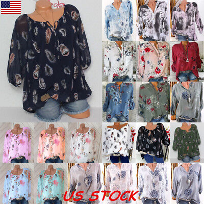 US Womens Plus Size Tops Long Sleeve Casual Floral Shirt Ladies Loose Blouse Tee