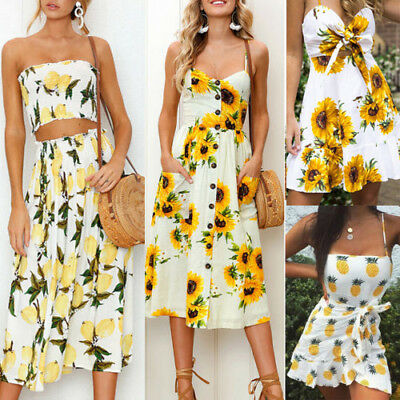 Boho Women Floral Sleeveless Button Dress Summer Holiday Party Beach Sundress AU