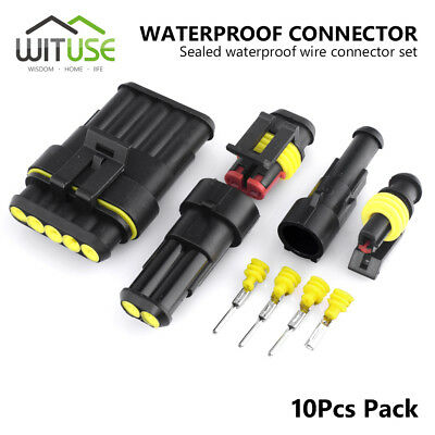 10pcs 2/3/4/5/6/1 Pin Way Sealed Waterproof Electrical Wire Connector Plug Car